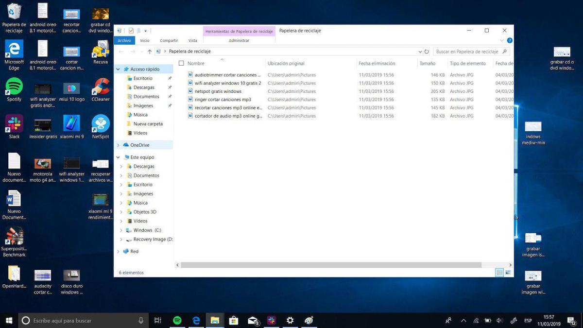recuperar papelera reciclaje windows 10
