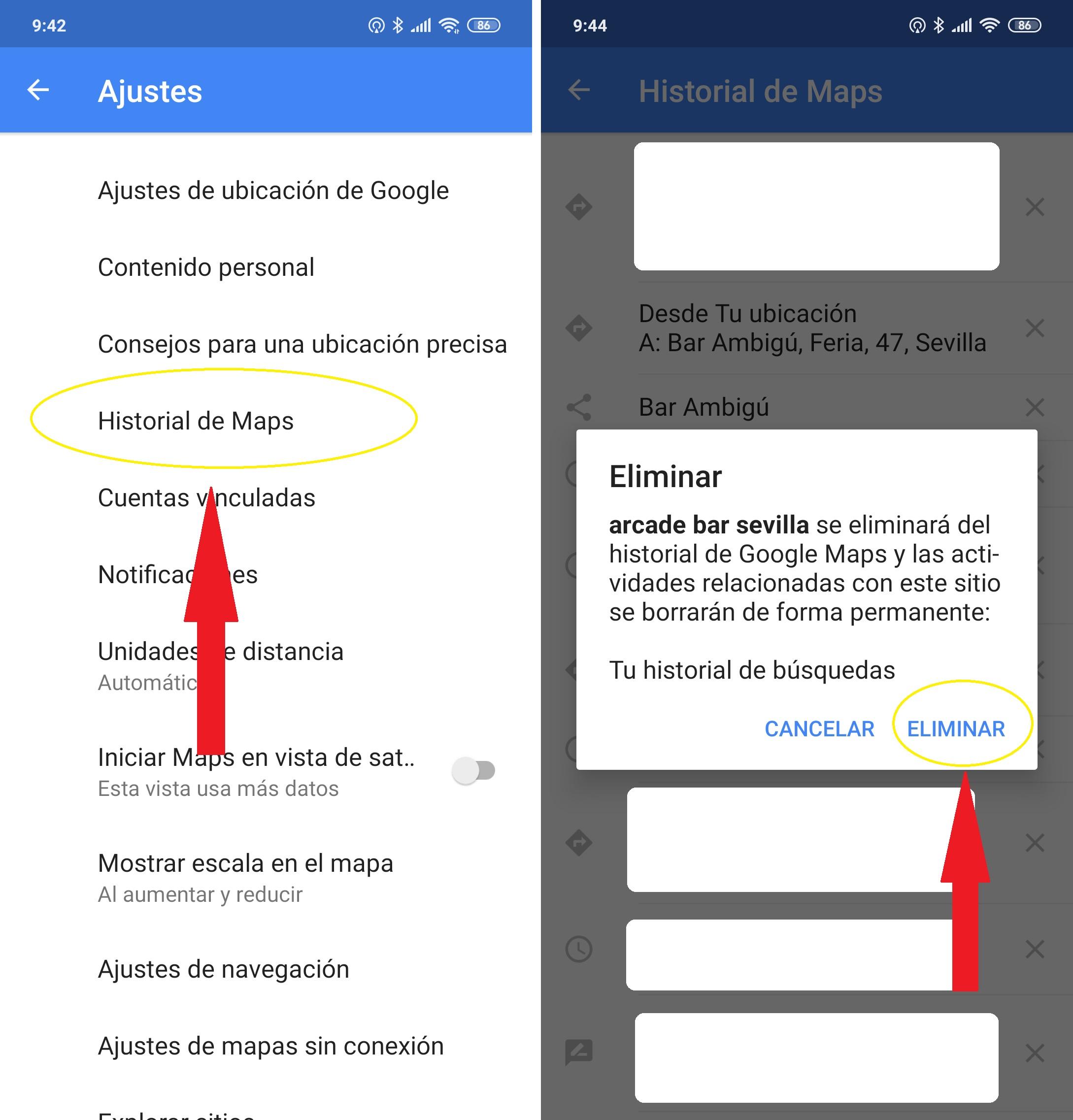 Cómo borrar el historial de búsquedas y de ubicación en Google Maps 1
