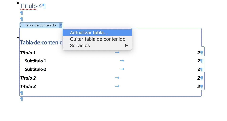 actualizar tabla indice word
