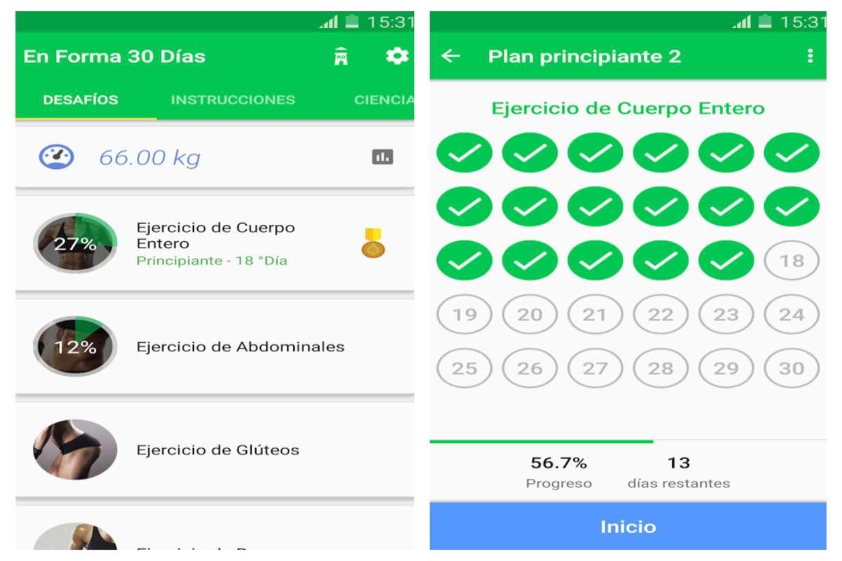 App de ejercicios Reto Deportivo De 30 Días