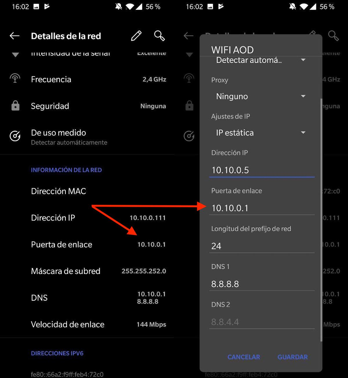 cambiar ip android sin ser root