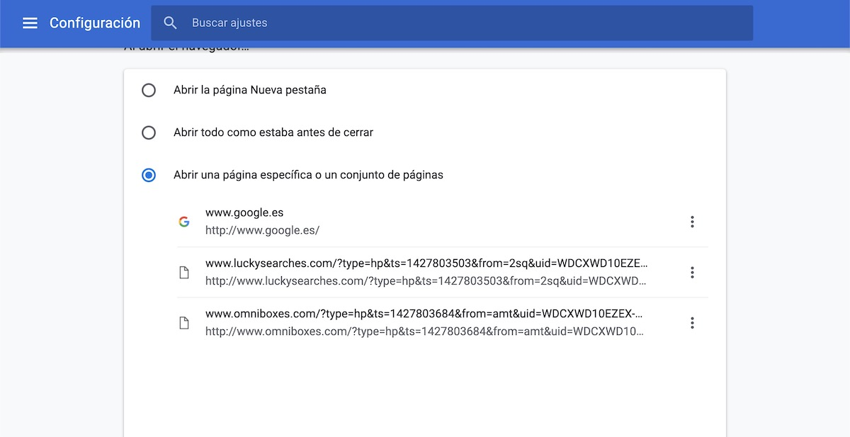 cambiar pagina de inicio google chrome