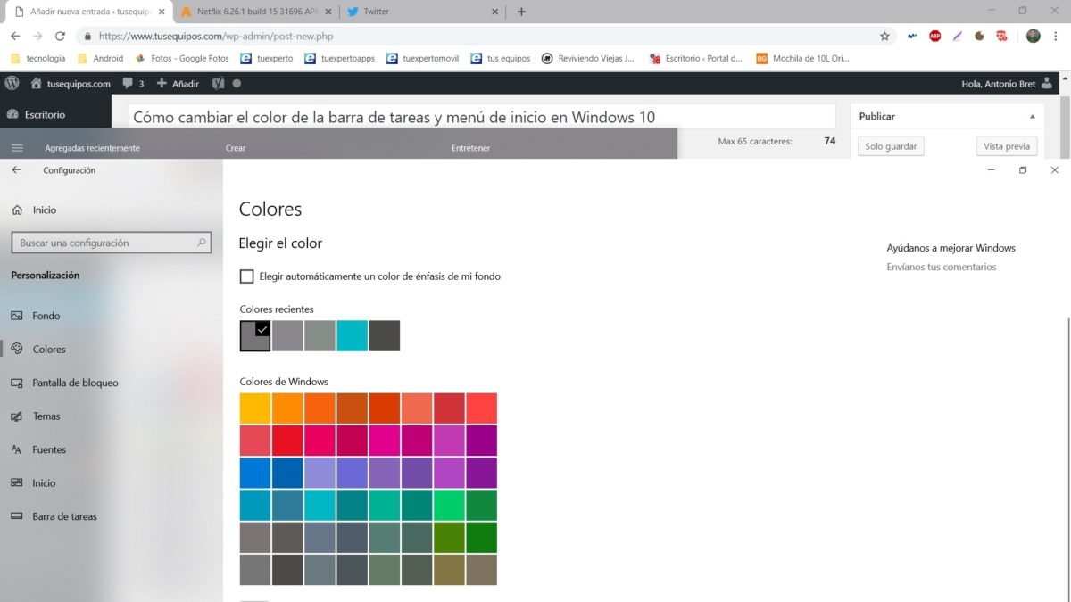 color barra windows 10 04