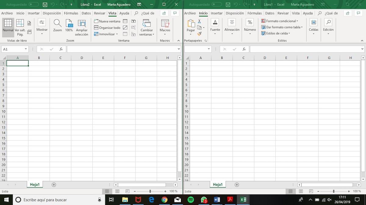 cómo dividir la pantalla en dos hojas de excel 2