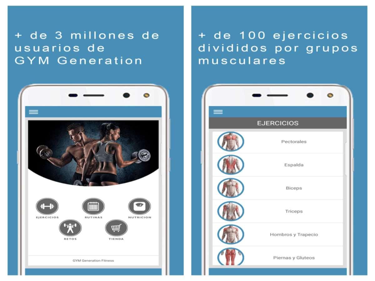 Aplicación GYM Generation Fitness