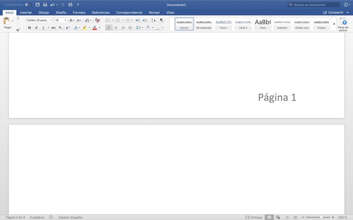 numerar paginas en word
