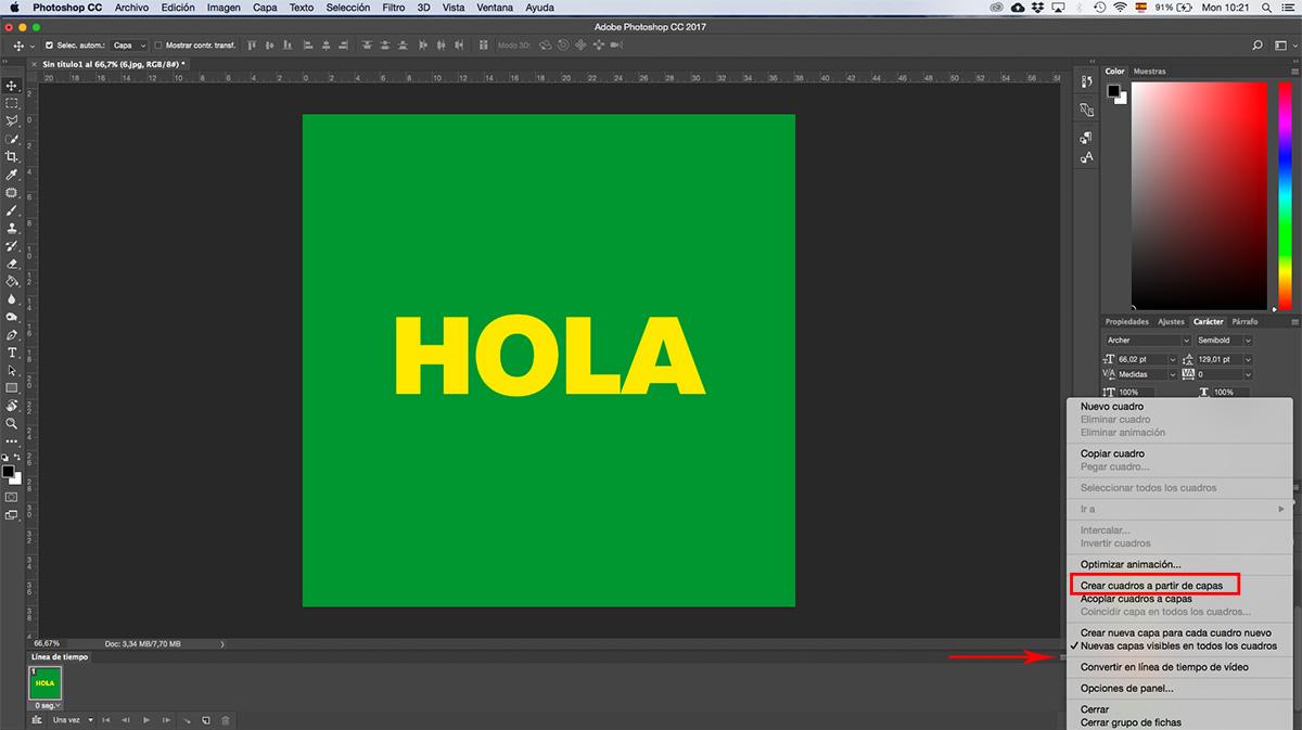 Photoshop Paso 4 crear gif