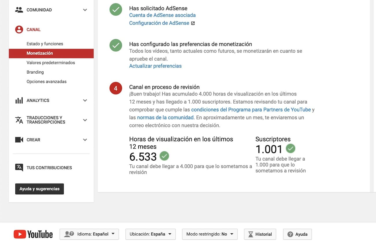 requisitos monetizar canal youtube