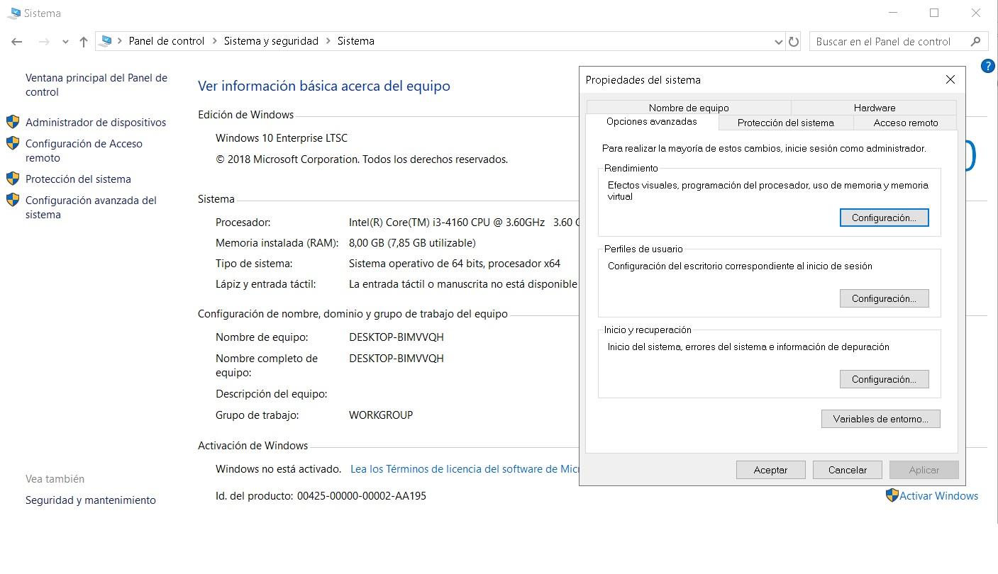 cambiar gestión energía windows 10