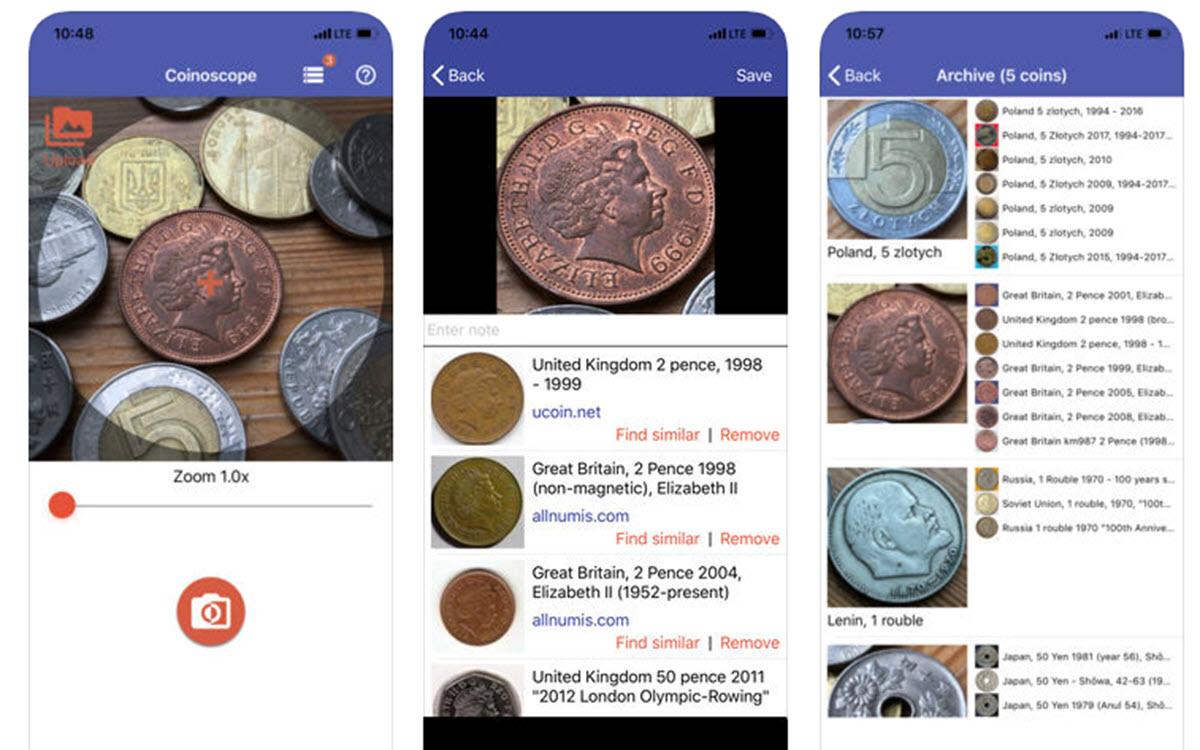 Coinoscope para identificar monedas