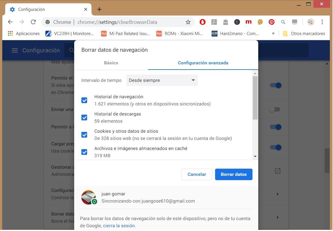 Cómo borrar todos los datos de navegación de Chrome 04
