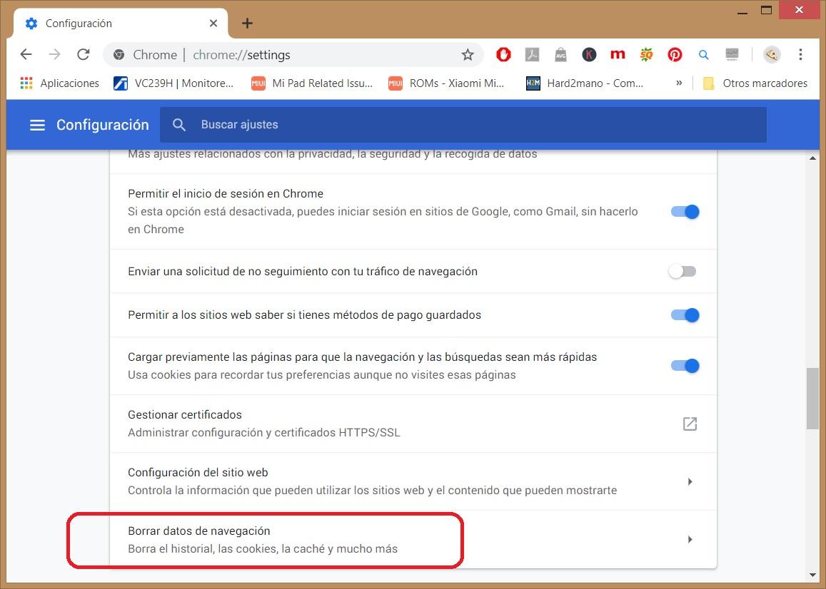 Cómo borrar todos los datos de navegación de Chrome 3