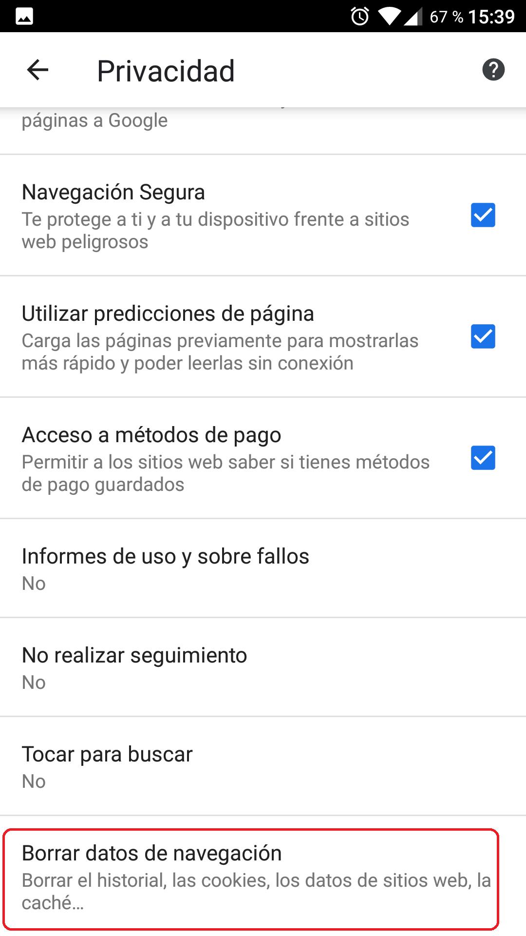 Cómo borrar todos los datos de navegación de Chrome 7