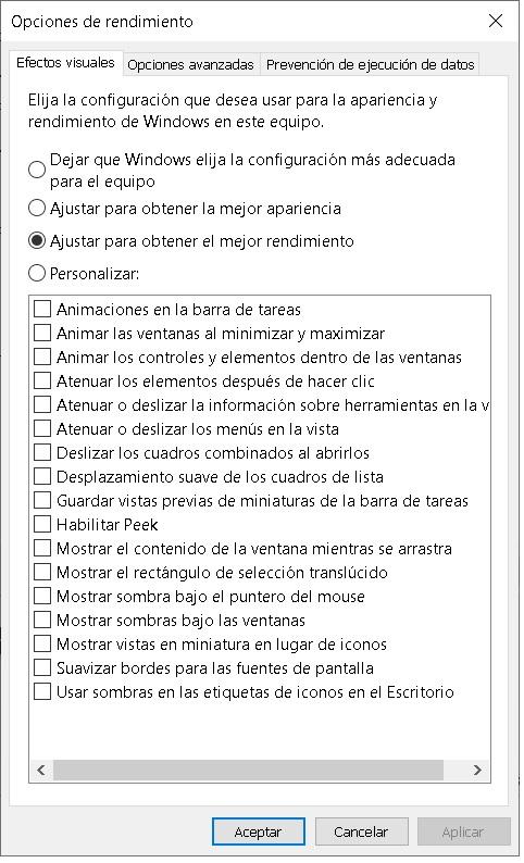 desactivar efectos visuales windows 10 2