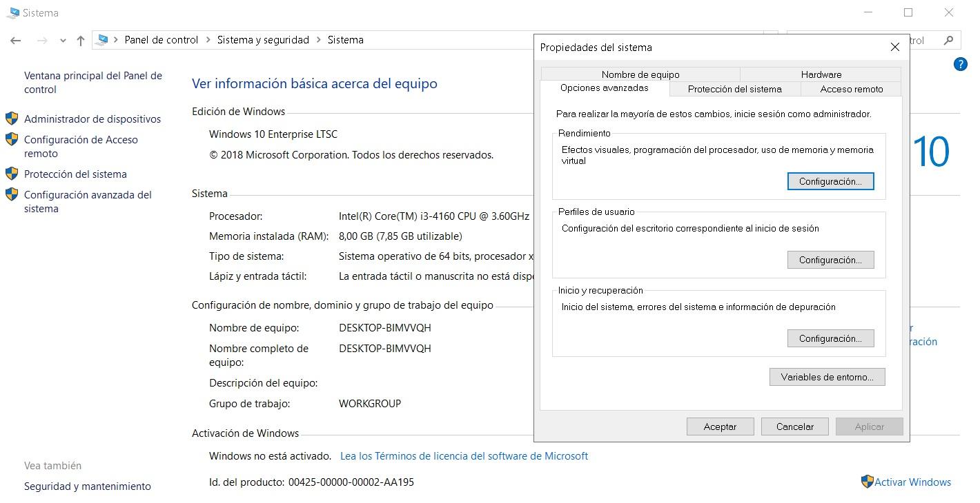 Desactivar los efectos visuales de Windows 10