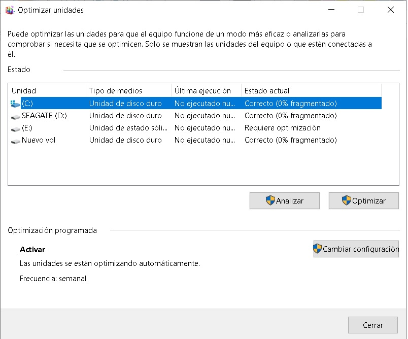 desfragmentar disco duro windows 10