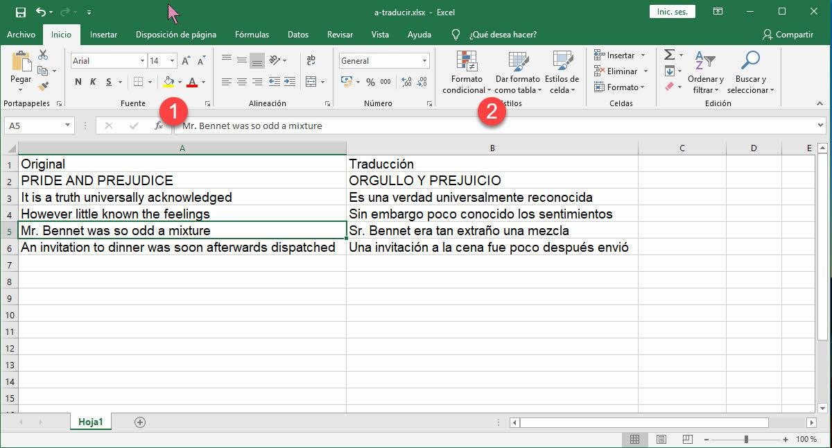 cómo traducir con Excel