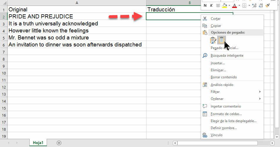 función traducir Excel
