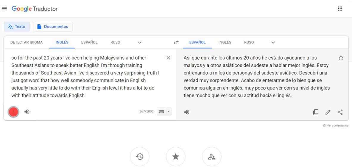 traduciendo con Google Traductor