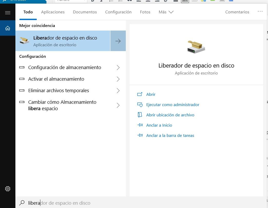 liberar espacio en disco Windows 10