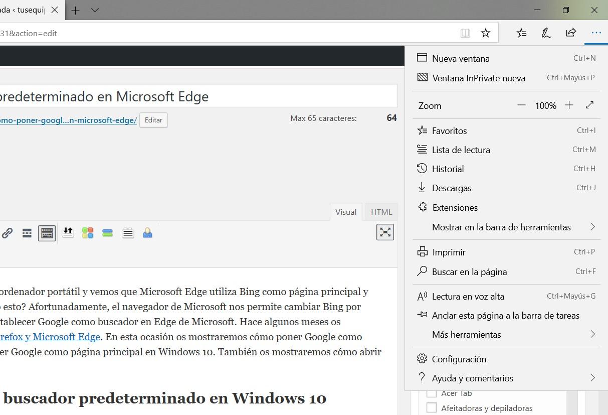 poner google buscador predeterminado microsoft edge