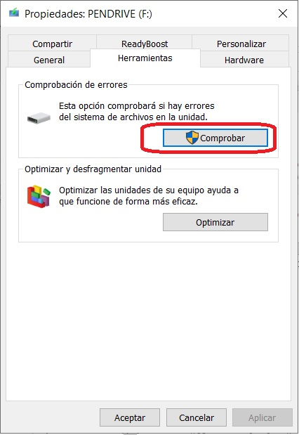 Reparar pendrive Windows 10 2