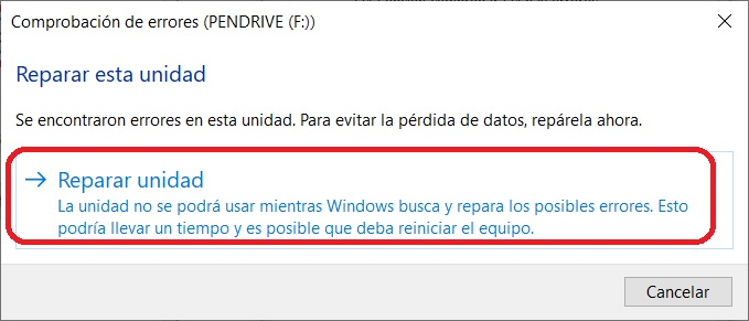 Reparar pendrive Windows 10 3