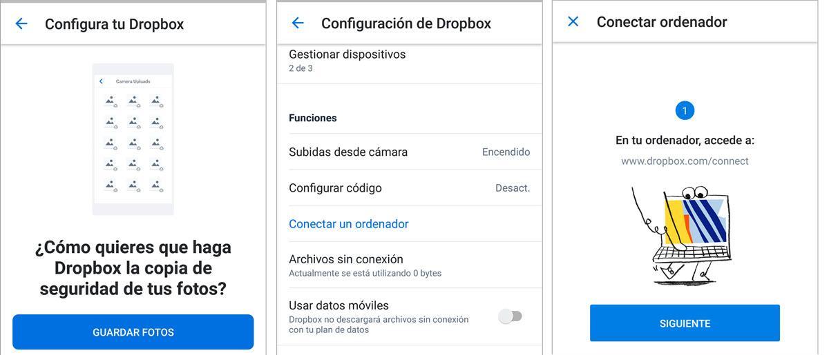 Sincronizar fotografías con Dropbox