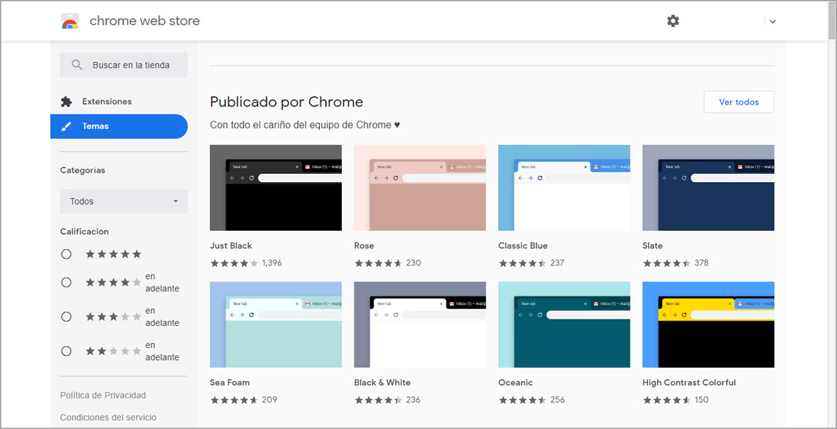 Temas de Chrome Web Store