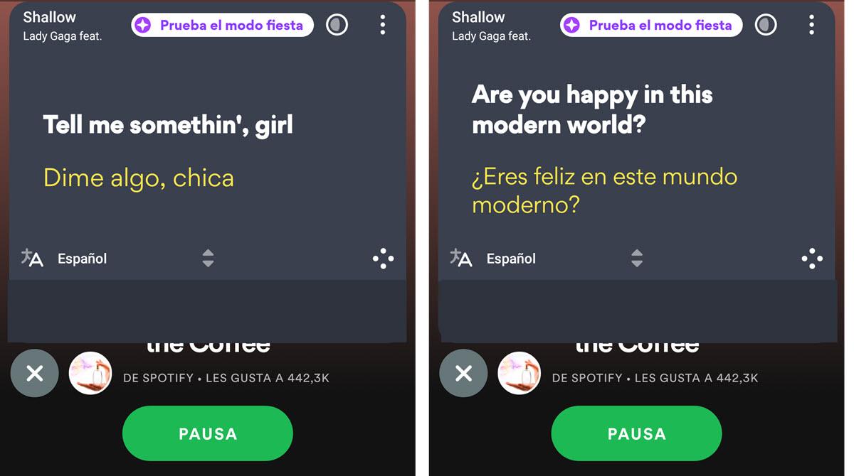 Ver traducciones Spotify