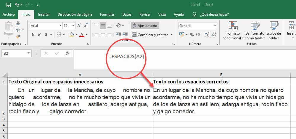 quitar espacios con Excel