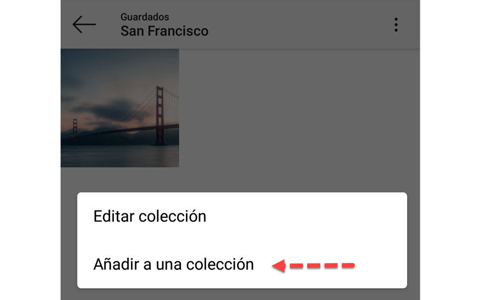 Añadir a una colección Instagram