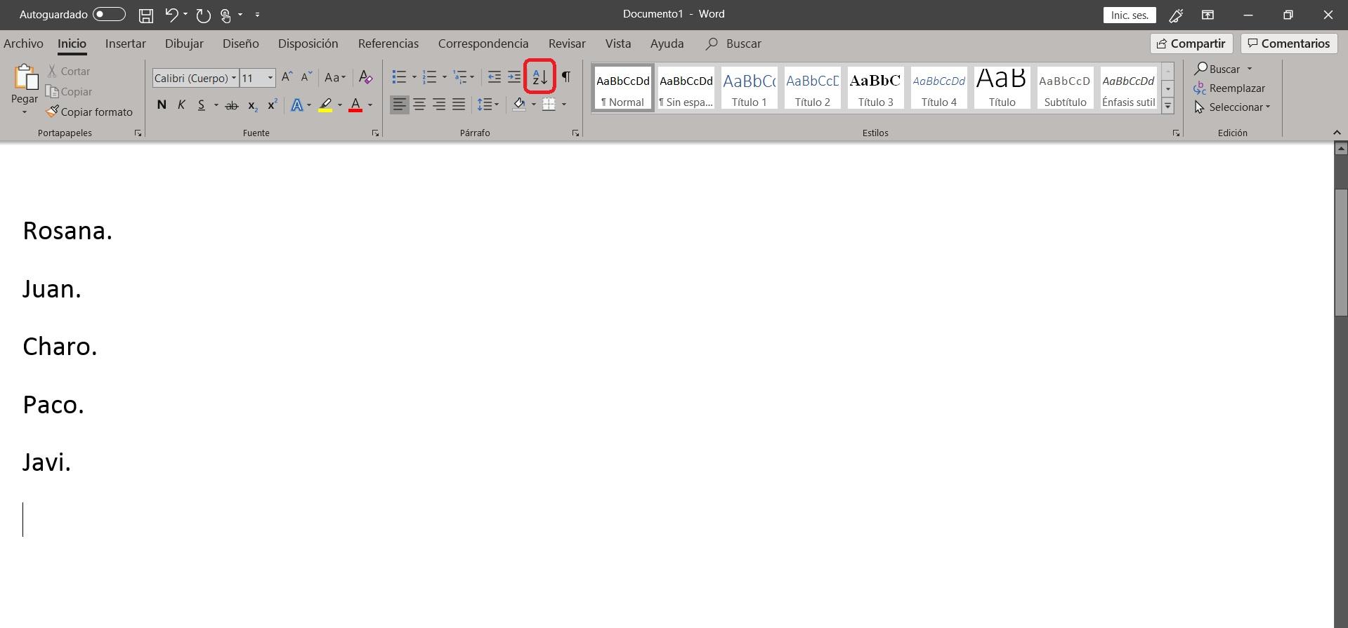 Como ordenar alfabéticamente en Word 01