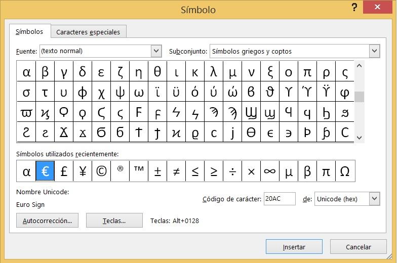 Como poner el símbolo euro usando el teclado 3