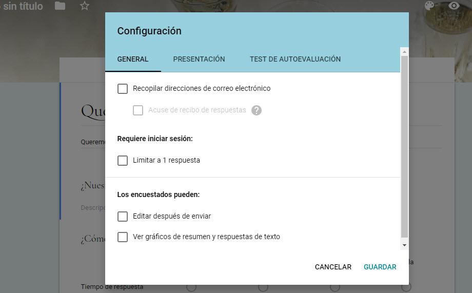 configurar presentación encuesta