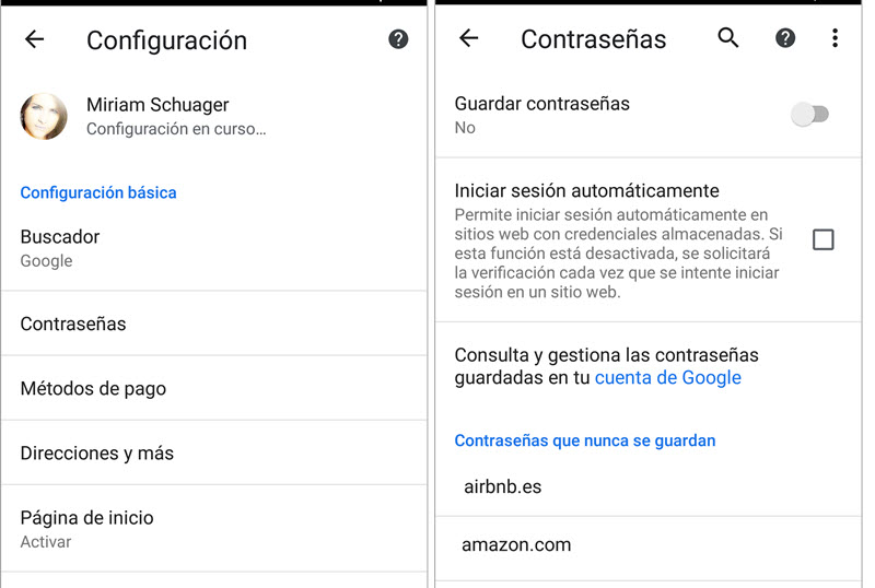 Contraseñas Android