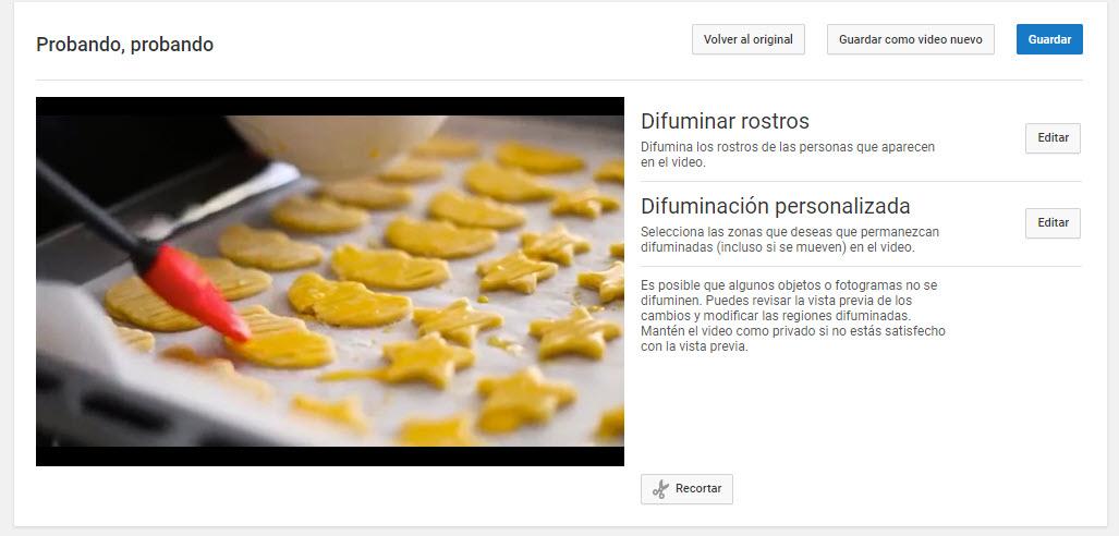 difuminar vídeos YouTube