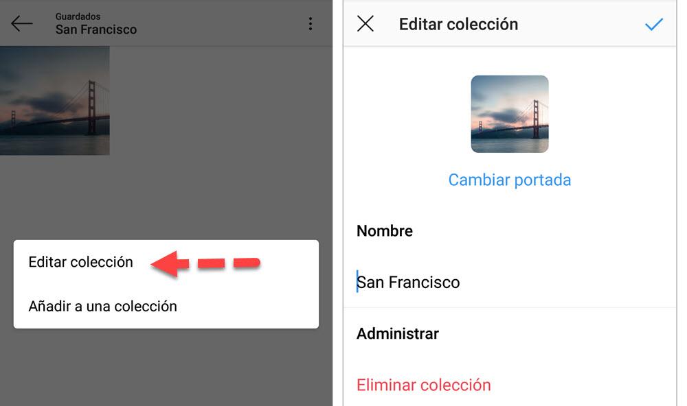 Editar colección Instagram