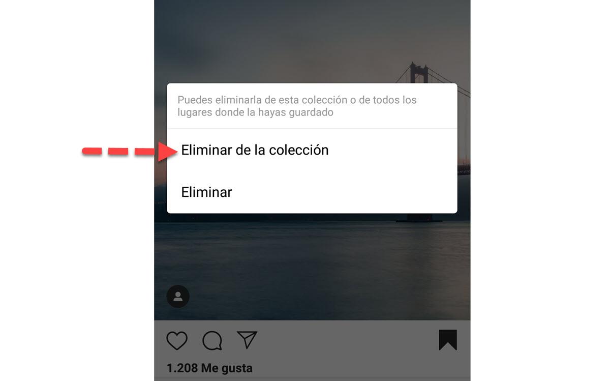 eliminar colección Instagram