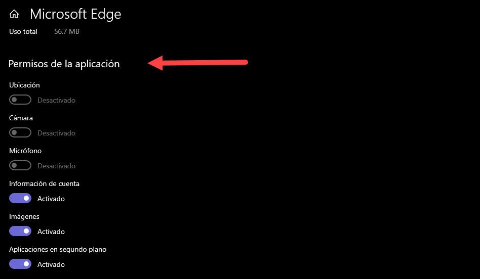 Microsoft Edge permisos de aplicación