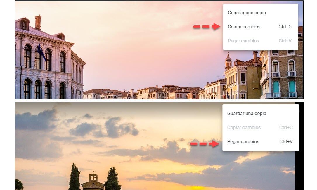 copiar cambios en Google Fotos