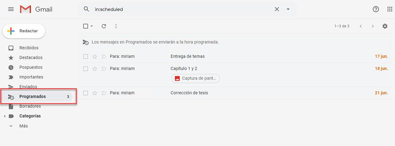correos programados en Gmail