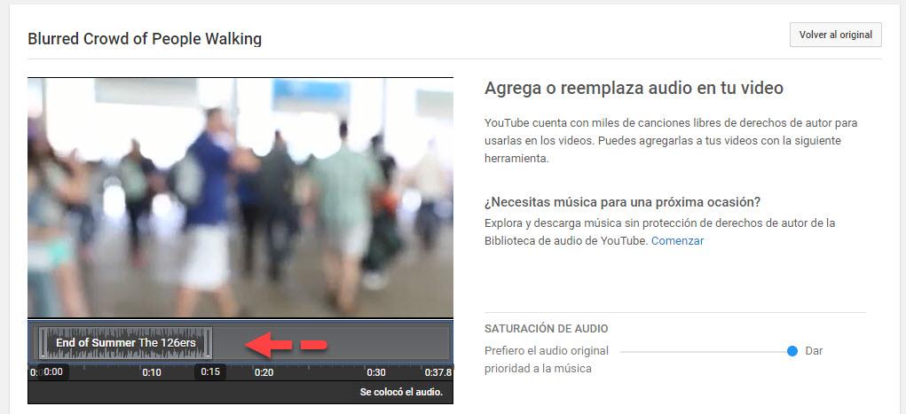 seleccionar audio YouTube