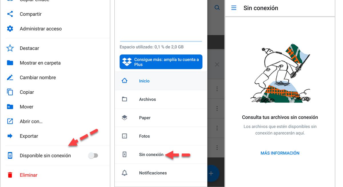 Sin conexion Dropbox