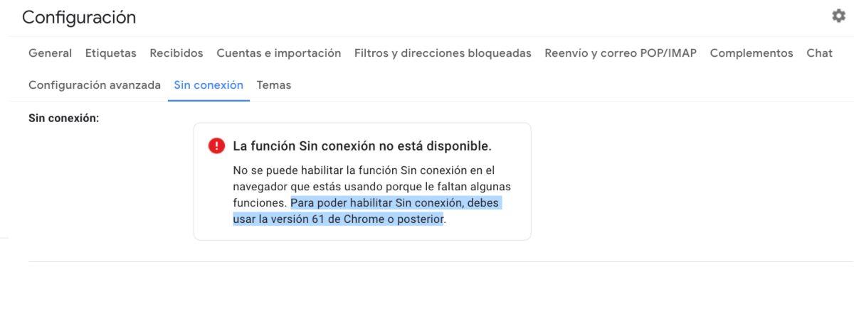 Modo sin conexión de Gmail