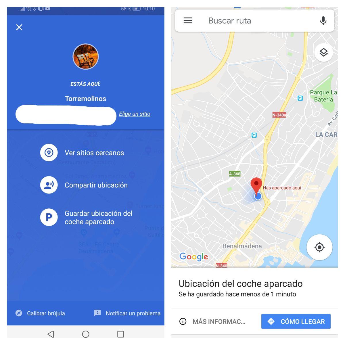 Guardar ubicación del coche en Google Maps