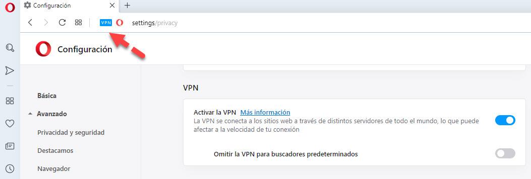 activar VPN Opera