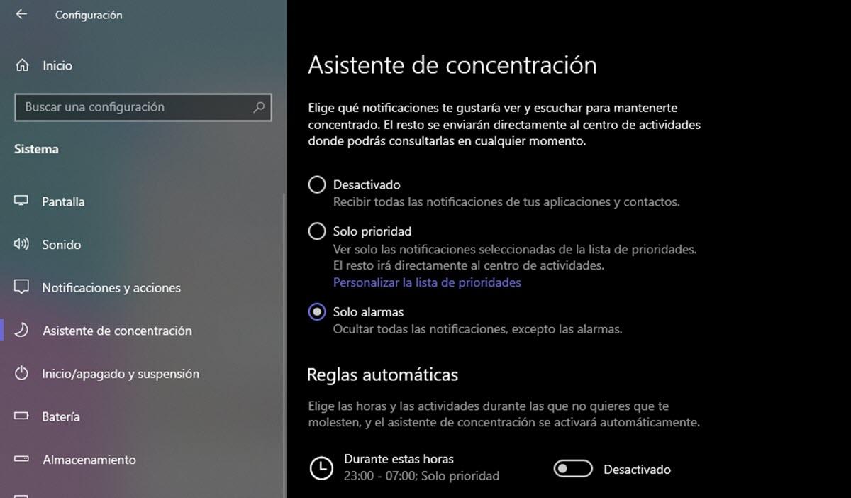 Cómo usar el asistente de concentración de Windows 10 2