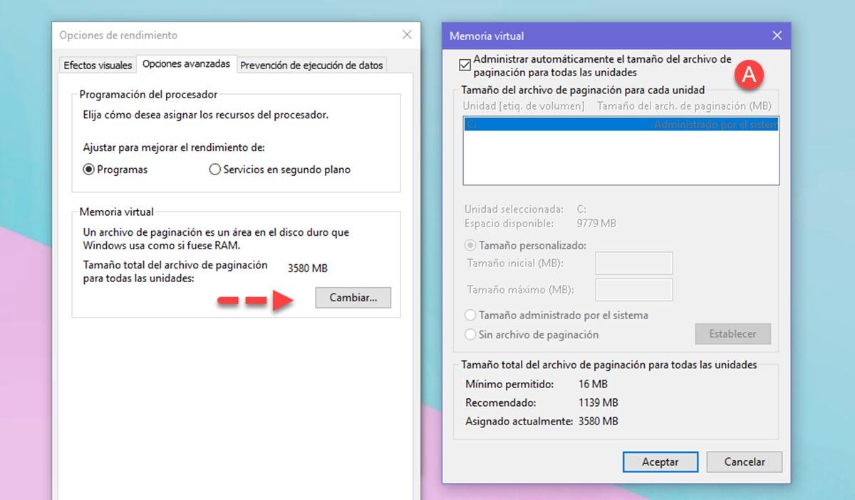Cómo aumentar la memoria virtual en Windows 10 3