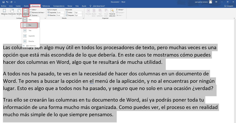 Como hacer 2 columnas en Word 1
